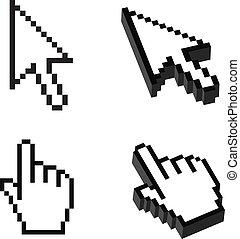 ou, dimensionnel, curseur, ensemble, deux, trois, forme