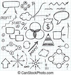 ou, griffonnage, main, symbols., ensemble, vecteur, croquis, simple, illustration., dessiné, signes
