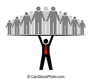 ou, groupe, everyone., gens, entier, boss., patron, community., sien, équipe, soutiens, éditorial