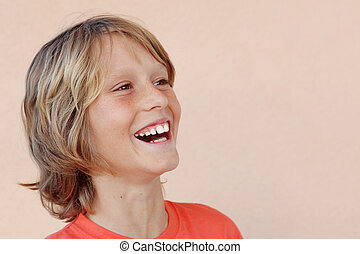 ou, heureux, gosse, enfant riant
