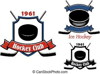 ou, hockey, club, emblèmes, glace, insignes