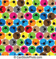 ou, hommes, coloré, main-d'oeuvre, représenter, autre, team., cercles, gens, placé, étudiants, enfants, groupe, employés, suivant, communauté, contient, chaque, icônes, illustration, concept, etc