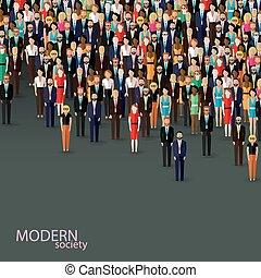 ou, illustration affaires, politique, vecteur, corneille, plat, community.