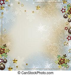 ou, invitations, multicolore, étoiles, toile de fond, salutations, flocons neige, babiole
