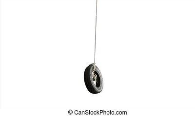 ou, isolé, pneu, balançoire, pneu