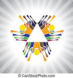 ou, jouer, aussi, humeur, simple, employé, ouvriers, together-, amusant, fête, vecteur, enfants, &, graphic., animé, boîte, excité, équipe, gosses, collaboration, illustration, gens, démonstration, représenter, ceci