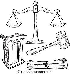ou, justice, droit & loi, objets, croquis
