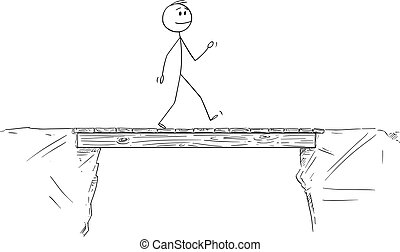 ou, marche, homme affaires, croisement, homme, dessin animé, pont, illustration, vecteur