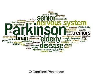 ou, mot, parkinson`s, nuage, désordre, résumé, maladie, healthcare, système nerveux