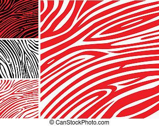 ou, peau, modèle, impression, -, zebra, collection, rouges, animal, blanc