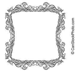 ou, picture., vendange, salutation, silhouette., invitation, vecteur, mariage, menu, list., endroit, baroque, texte, cadre
