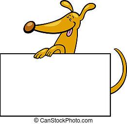 ou, planche, chien, carte, dessin animé