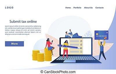 ou, retour, concept, e-tax, ligne, impôt