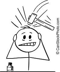 ou, sévère, mal tête, illustration, douleur, dessin animé, homme, migraine, souffrance, vecteur, tête