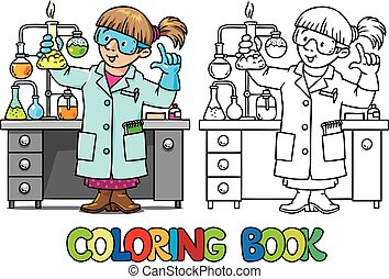 ou, scientifique, coloration, rigolote, chimiste, livre