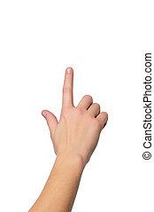 ou, toucher, profondeur, haut, peu profond, doigt, fond, -, isolé, pousser, coup, fin, femme, somethimg, champ, main, bouton, blanc