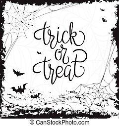 ou, tour, treat., quote., halloween, affiche