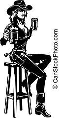ouest, cow-boy, vecteur, sauvage, art, agrafe, coupure, -, girl, silhouette, bière, cowgirl, prêt