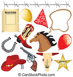 ouest sauvage, anniversaire, clipart, cow-boy