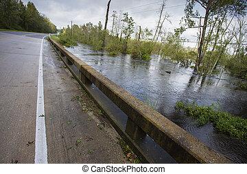 ouragan, florence, sur, eau, pont, inonder