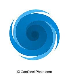 ouragan, symbole, signe, orage, bleu