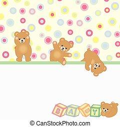 ours bébé, fond, teddy