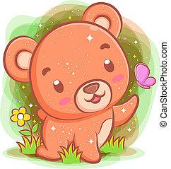 ours, bébé, jouer, parc, papillon