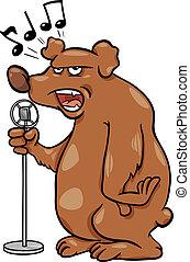 ours, chant, dessin animé, illustration