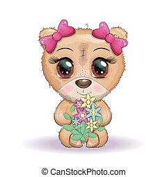ours, dessin animé, tenue, salutation, grand, bouquet, mignon, yeux, fleurs, conception