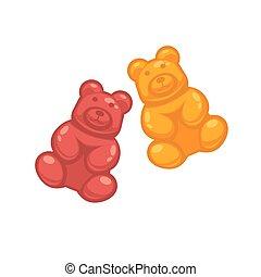 ours, différent, coloré, gelée