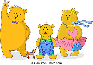 ours, famille, teddy