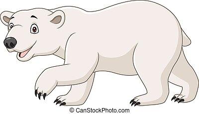 ours, fond, isolé, dessin animé, blanc, polaire