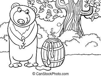ours miel, dessin animé, illustration