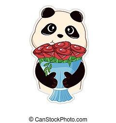 ours, mignon, fleurs, bouquet, tenue, teddy, sien, panda, hands.
