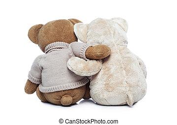 ours nounours, deux, étreindre, dos, autre, chaque, vue