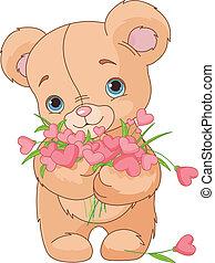 ours peluche, bouquet, cœurs, donner