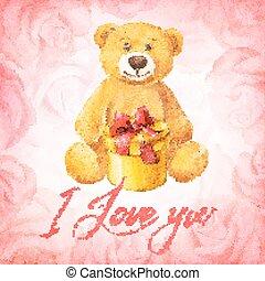 ours peluche, card., roses., fond, cadeau, salutation, aquarelle, vecteur, illustration., rose