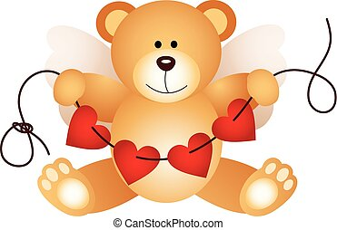 ours peluche, cupidon