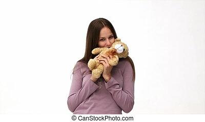 ours peluche, femme, jouer, heureux