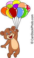 ours peluche, mignon, ballons