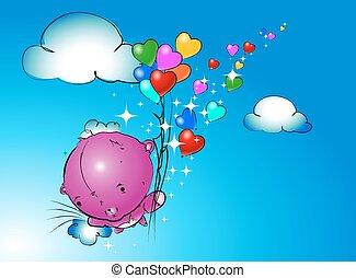 ours peluche, vecteur, pendre, ballons, girl
