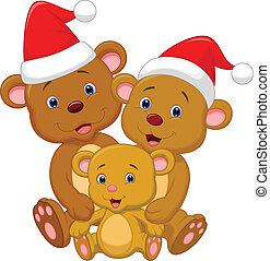 ours, porter, re, mignon, famille, dessin animé