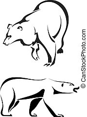 ours, silhouettes, fond blanc