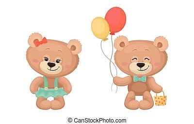 ours, tas, teddy, mignon, vecteur, dessin animé, tenue, ballons, ensemble