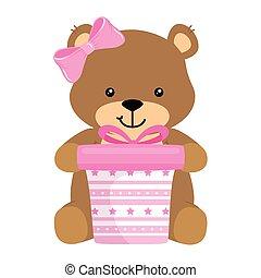 ours, teddy, mignon, rose, femme, boîte-cadeau
