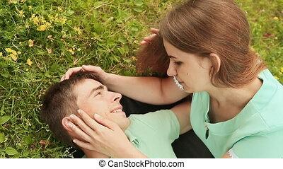 outdoors., amour, couple, jeune