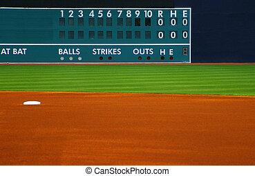 outfield, premier plan, champ, base-ball, scoreboard, vide