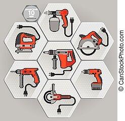 outil électrique, vecteur, set., illustration