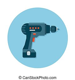 outil construction, icônes, plat, foret