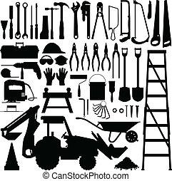 outil construction, vecteur, silhouette